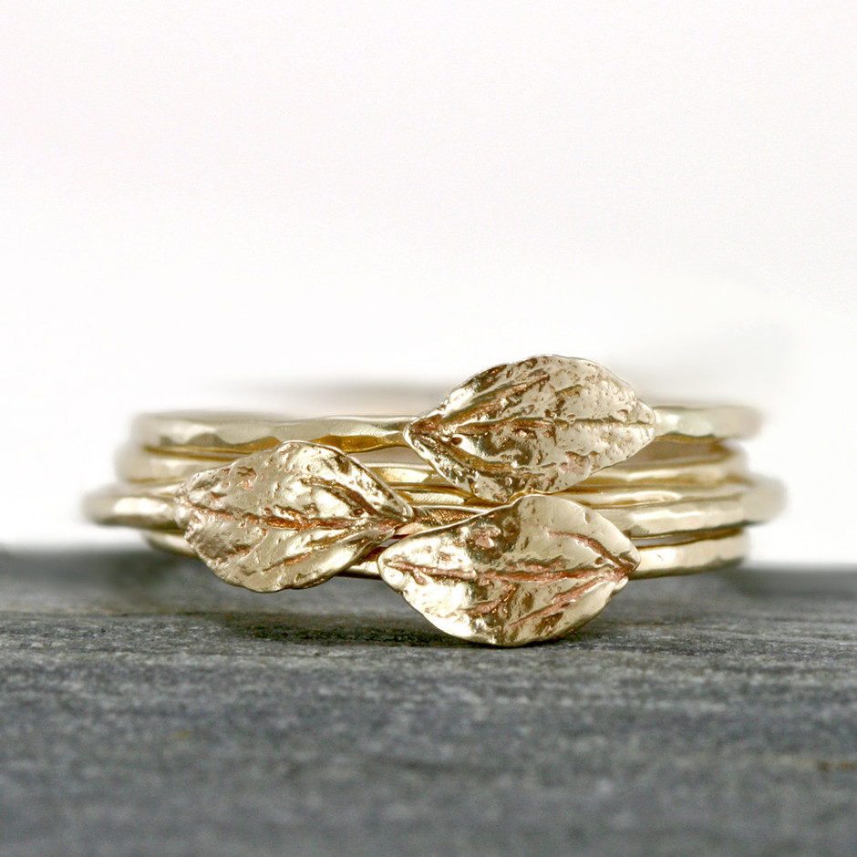 Gold Leaf Ring 14k Yellow Gold Stacking Ring by ScarlettJewelry
