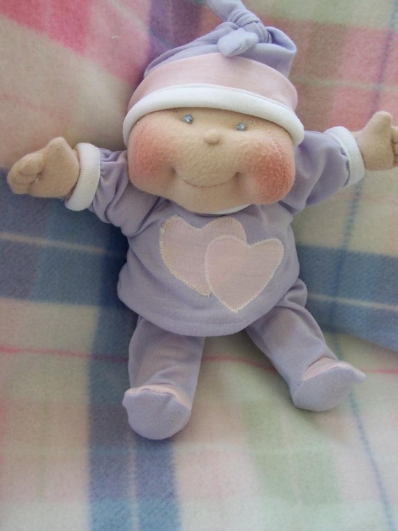 "Soft Cloth Baby Doll, 10"" Dinky Baby Pattern - TOMMER 