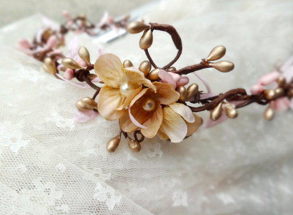 wedding hair accessories pink flower hair circlet by thehoneycomb
