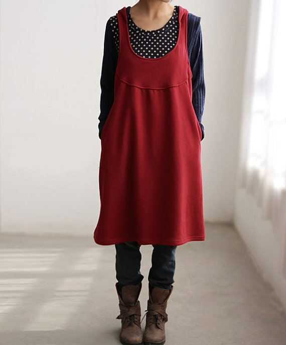 Red Cotton Hooded Tank dress by MaLieb on Etsy