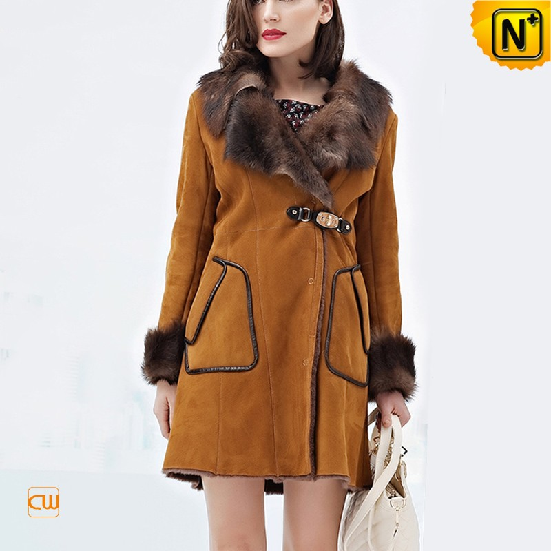 Women's Sheepskin Coats Sable Fur Collar CW644128