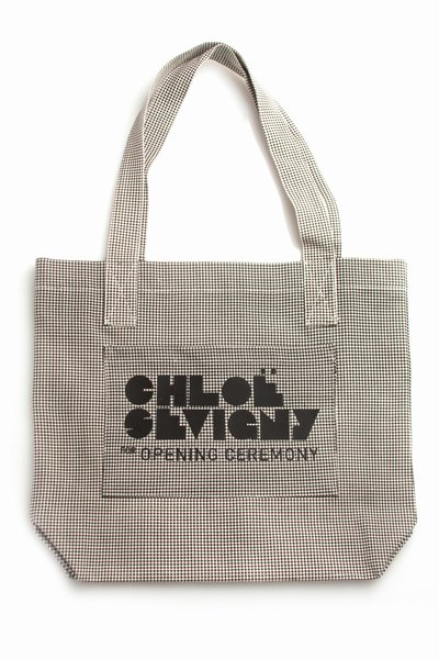 CHLOE SEVIGNY FOR OPENING CEREMONY LARGE LOGO TOTE - HOUNDSTOOTH/BLACK - CWA01-PS11 - WOMEN - CHLOE SEVIGNY FOR OPENING CEREMONY