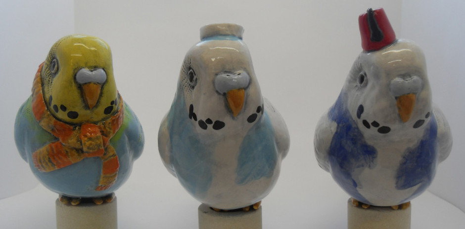 Party Budgie ceramic sculpture of budgie in a by MillerCeramics