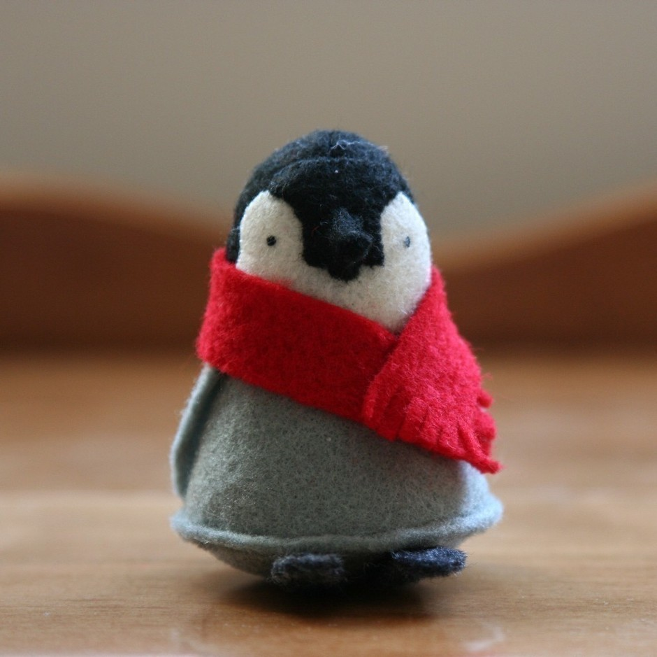 1 penguin with red scarf by allthingssmall on Etsy