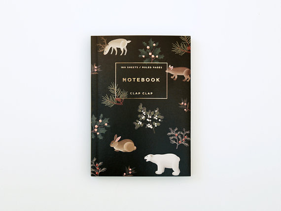 Wild Animals Notebook Black by clapclapdesign on Etsy