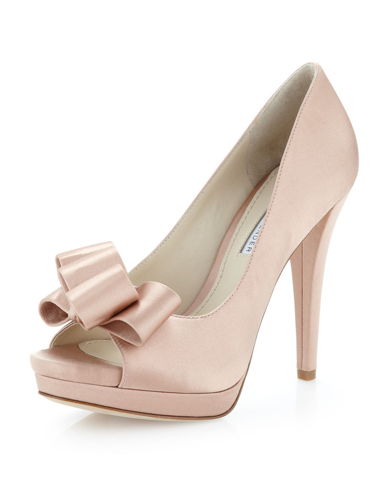 Vera Wang Lavender - Sammy Satin Bow Open-Toe Pump, Latte - Last Call - 7 For All Mankind