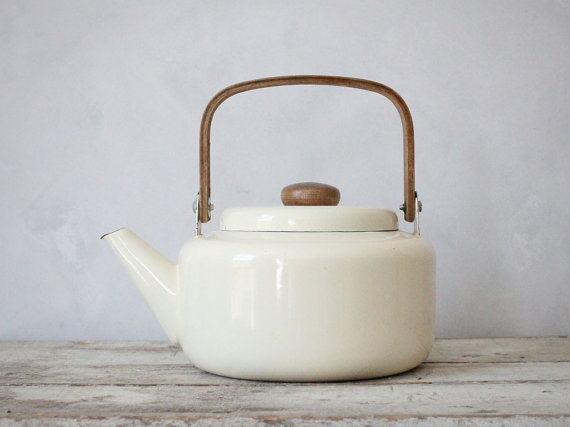 Vintage Enamel Ivory Teapot with Wooden Handle by jerseyicecreamco