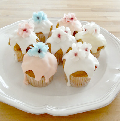 flower cupcake - thumb and cakes