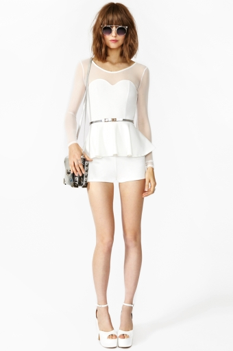 Peplum Mesh Romper - Ivory in Clothes Bottoms Rompers + Jumpsuits at Nasty Gal
