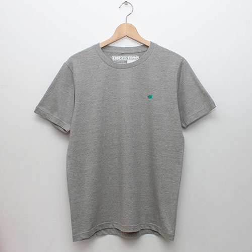 Embroidery Tee - Grey x Mint - cup and cone WEB STORE