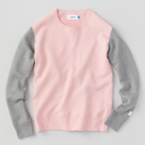 Study - Color Block Sweat Shirt (Pink-Gray) - Aloye Store