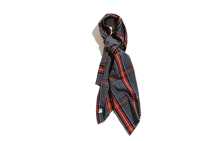 ENGINEERED GARMENTS/Long Scarf-Brushed Plaid-Grey×Red