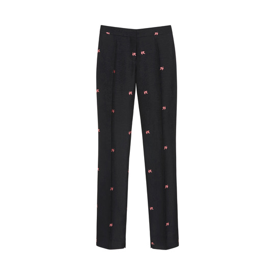 Evening Trousers in Black Lucky Leaf Jacquard | Womenswear | Mulberry