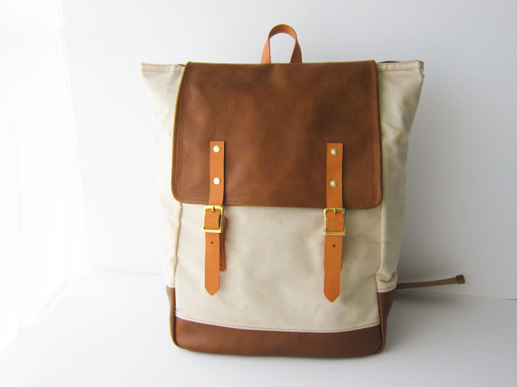 Backpack No5 Dual Look Natural Waxed Canvas with by buluchu