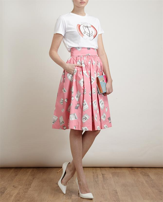 OLYMPIA LE-TAN | Book Printed Pleated Cotton Skirt | Browns fashion & designer clothes & clothing
