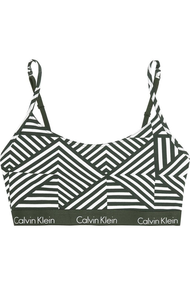 Calvin Klein Underwear | One printed stretch-cotton jersey bra | NET-A-PORTER.COM