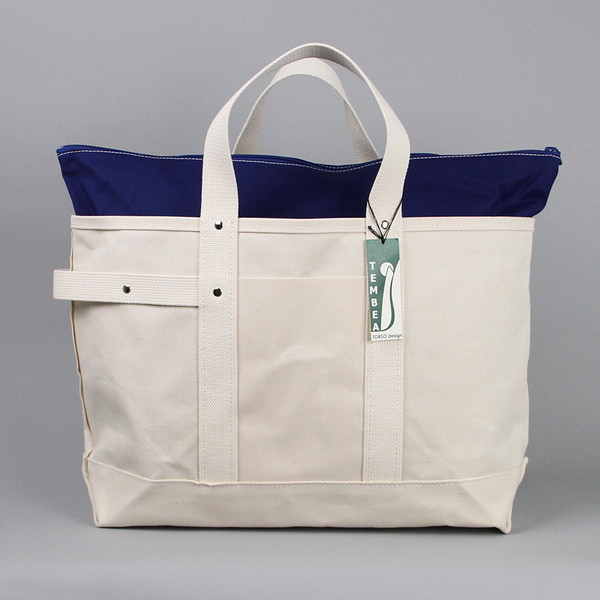 Large Harvest Tote Bag in Natural Canvas and Navy by Tembea Bags - OEN Shop
