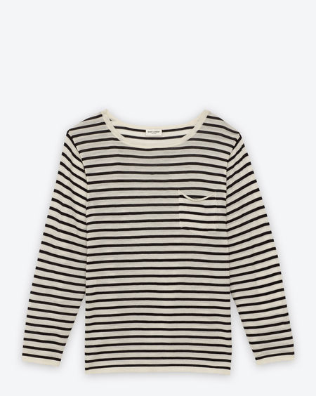 Classic Long Sleeve Pocket T-Shirt in White and Black Striped Merino Wool - Stripes – Ready To Wear – Men – Yves Saint Laurent – www.ysl.jp