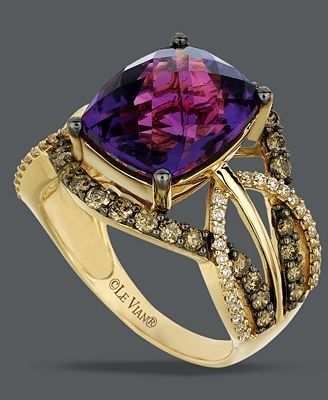 Accessories / Le Vian 14k Gold Ring, Amethyst and White and Chocolate Diamond Ring – unique jewelry