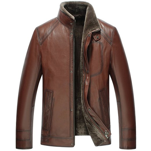 CWMALLS Men's Shearling Leather Jacket Brown: Amazon.co.uk: Clothing