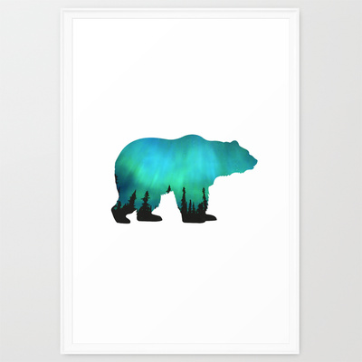 POLAR AURORA Framed Art Print by CSERA surface design | Society6