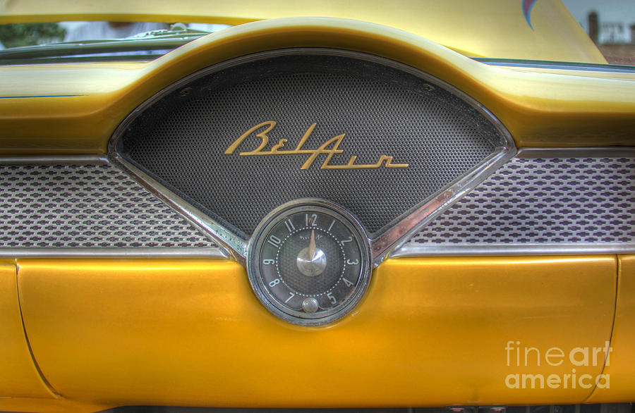 Yellow Chevy Bel Air Glove Box And Clockface Photograph by Lee Dos Santos - Yellow Chevy Bel Air Glove Box And Clockface Fine Art Prints and Posters for Sale