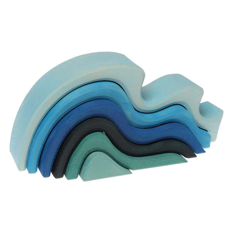 """Amazon.com: Grimm's Large WaterWaves Stacker - Nesting Wooden Wave Blocks, """"Elements"""" of Nature: WATER: Toys & Games"""
