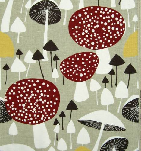 Mushroom Forest Fabric Vtg Almedahls Scandinavian DIY Curtains Cushion Pillow | eBay