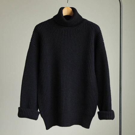 Mongolian Baby Camel Turtle Neck Knit #navy