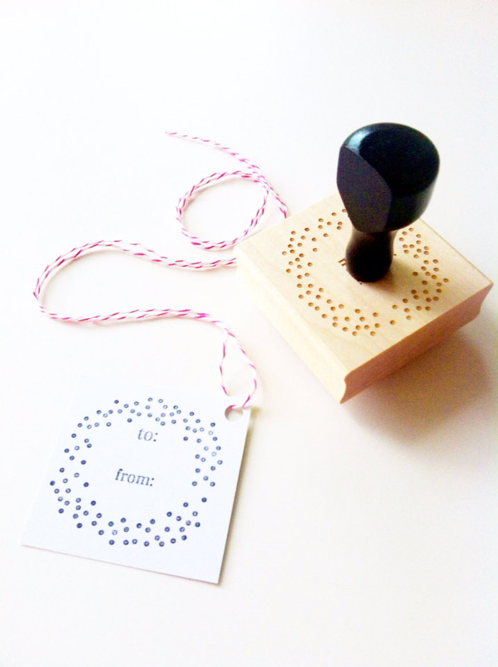 Confetti Dots To / From Gift Tag Stamp 2 x 2 by ChristineMarieB