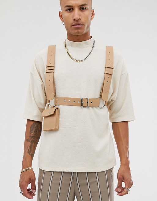 ASOS DESIGN faux leather body harness with bag in beige | ASOS