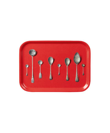 Red Spoon Print Tray