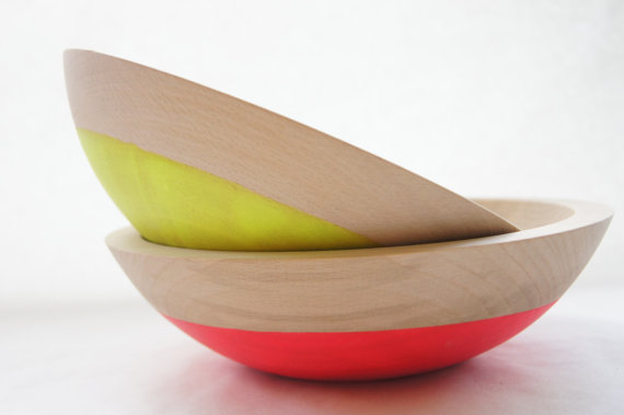 Wooden Salad Bowl 7 Set of 2 Neon Pink Neon by WindandWillowHome