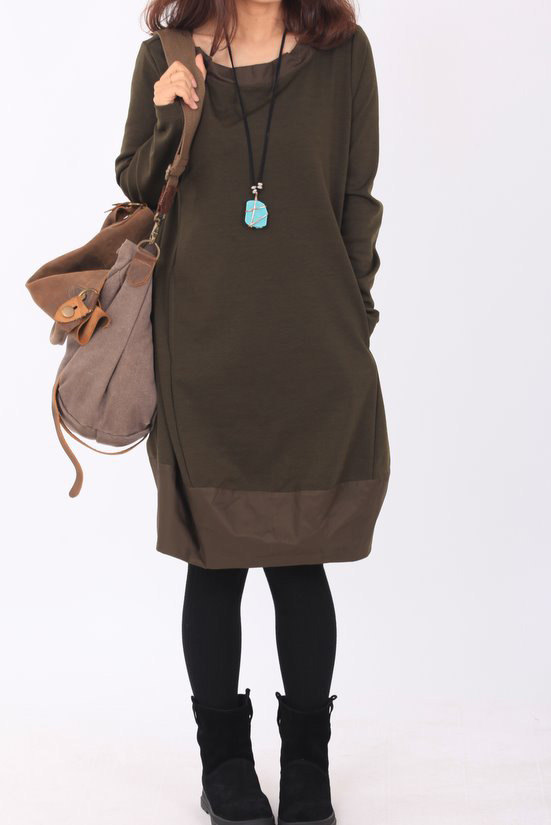 cotton tunic long sleeved dress In military green/ black by MaLieb