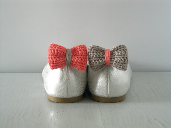 Opposites Attract. Crochet Bow Shoe Clips.Coral And Sand. | Luulla