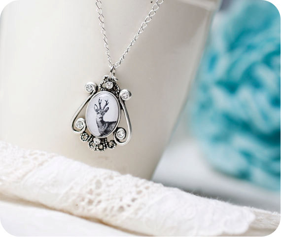 Deer necklace  forest jewelry  silhouette white gray by SecretFind