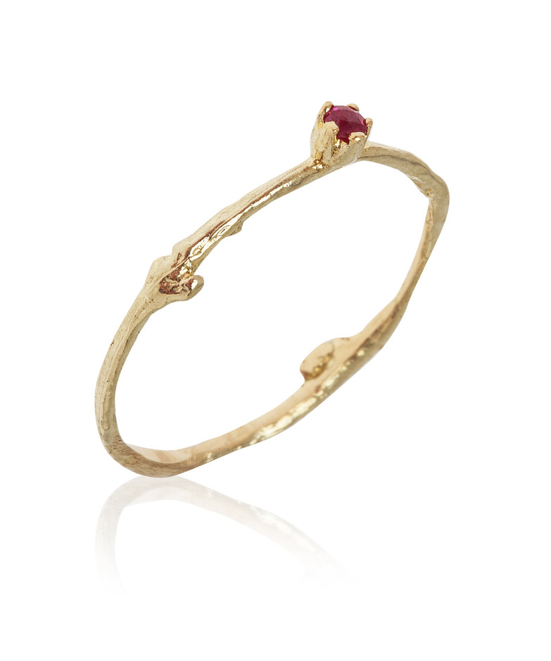 Gold Fine Twig Ruby Ring, Alex Monroe. Shop more rings from the Alex Monroe collection online at Liberty.co.uk