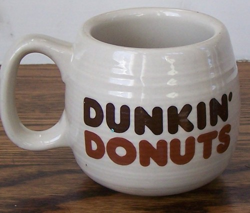 Old School The Big One Dunkin Donuts Coffee Mug Two Toned Brown Lettering | eBay