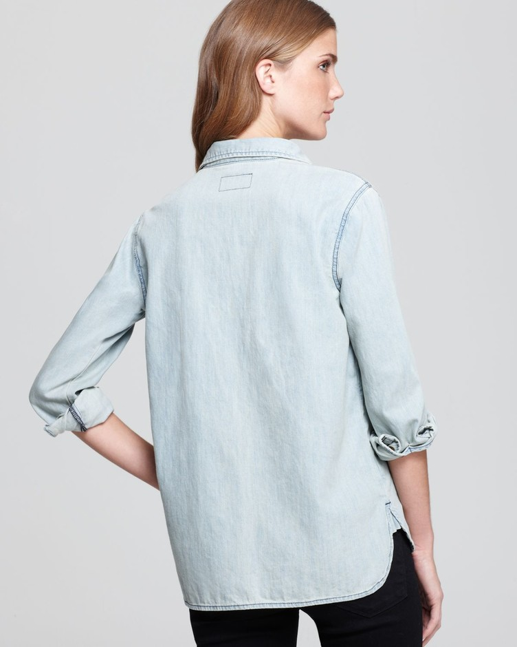 Current/elliott The Perfect Shirt with Ripped Off Pockets in Blue | Lyst