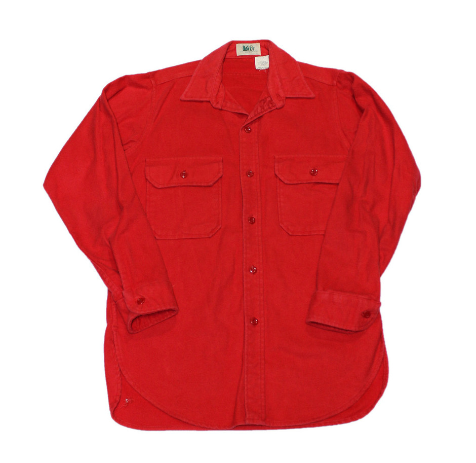 Vintage 80s REI Red Flannel Button Up Shirt Made in USA Mens Medium | Vintage Mens Goods