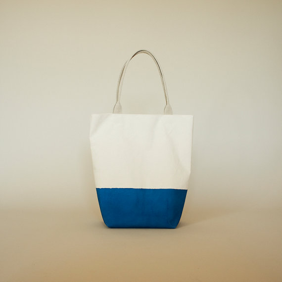 Ocean Blue Latex Dipped Canvas Tote with Natural by ribandhull