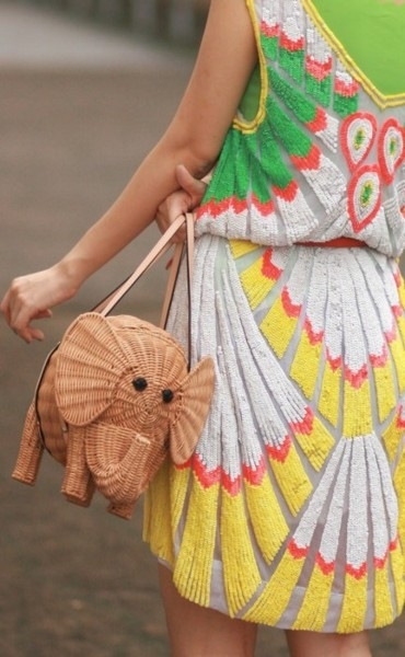 ::STREETSTYLE:: Colorful sequin dress and kate spade elephant bag