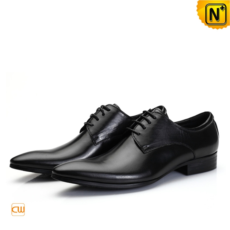 Black Italian Leather Oxford Shoes for Men CW762012