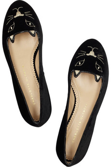 Charlotte Olympia | Kitty embroidered velvet flats | NET-A-PORTER.COM