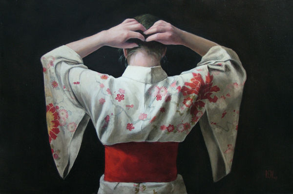 Floral Kimono - Hair up - oil on linen