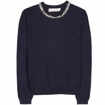 【LASO ラソ】2013/CRUISE新作 円高還元 ■ MARNI ■CASHMERE PULLOVER WITH EMBELLISHED COLLAR Deep Blue マルニ
