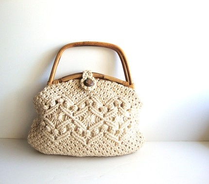 Vintage Cream Cotton Ropes and Bamboo hand Bag Purse from Pudding