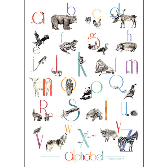 Alphabet Animal Poster by gentlearts on Etsy