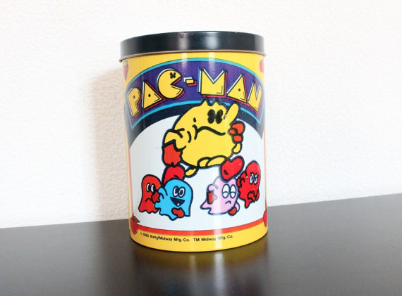 Vintage 1980 Pacman Arcade Game Tin Can Canister by smilehood