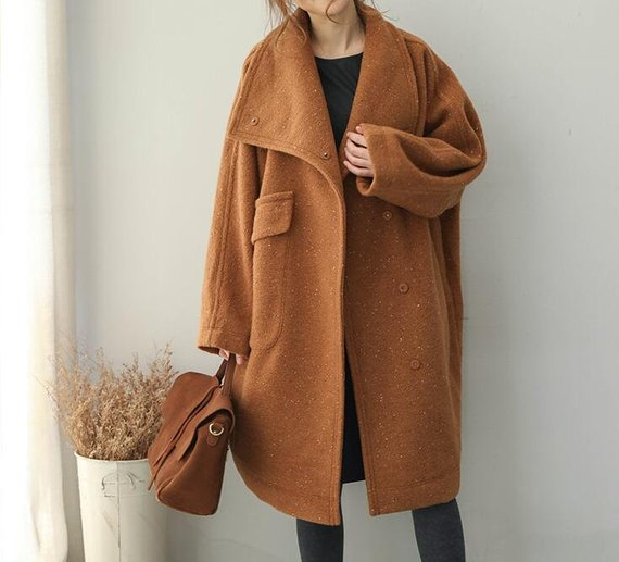 Winter wool overcoat Loose Fitting wool overcoat Stand   Etsy